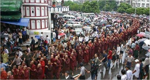 burma monks protest